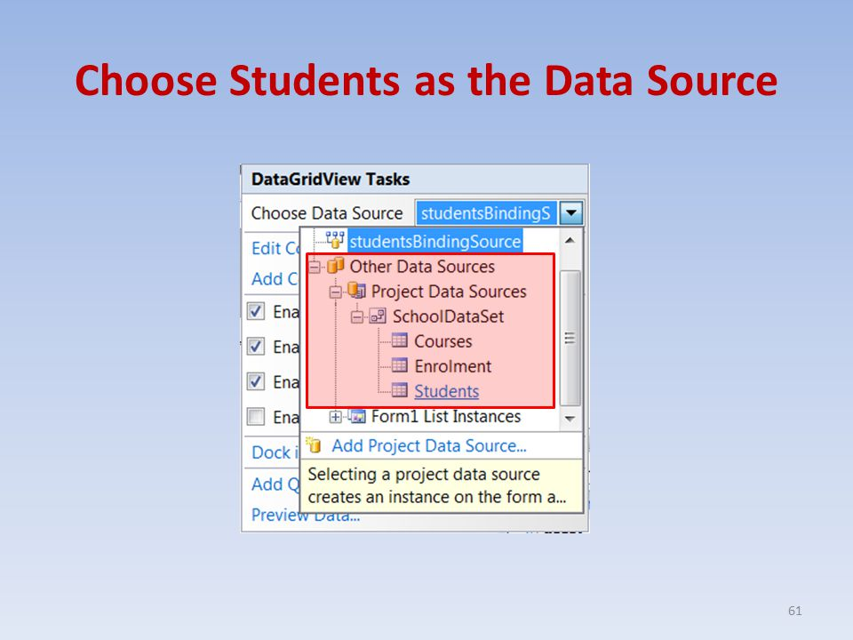 Choose Students as the Data Source 61