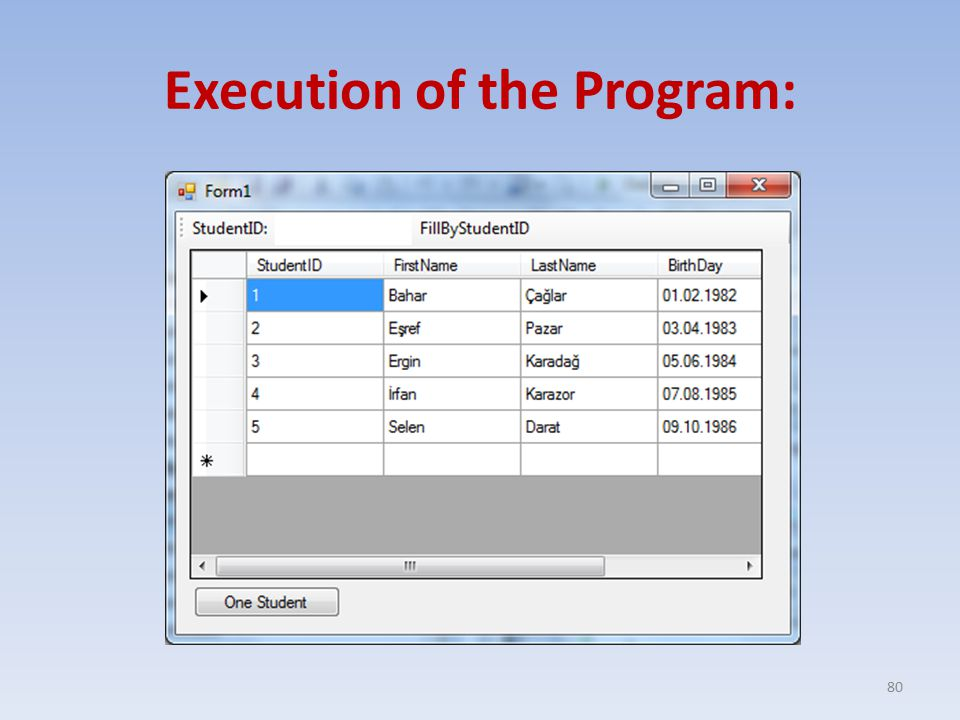 Execution of the Program: 80