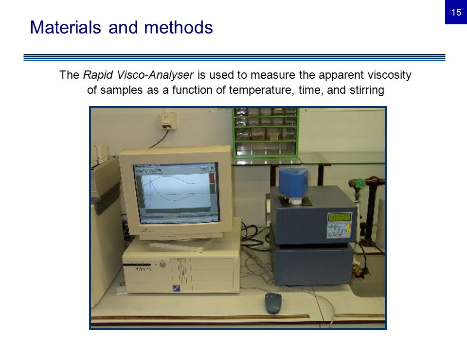 15 Materials and methods The Rapid Visco-Analyser is used to measure the apparent viscosity of samples as a function of temperature, time, and stirring
