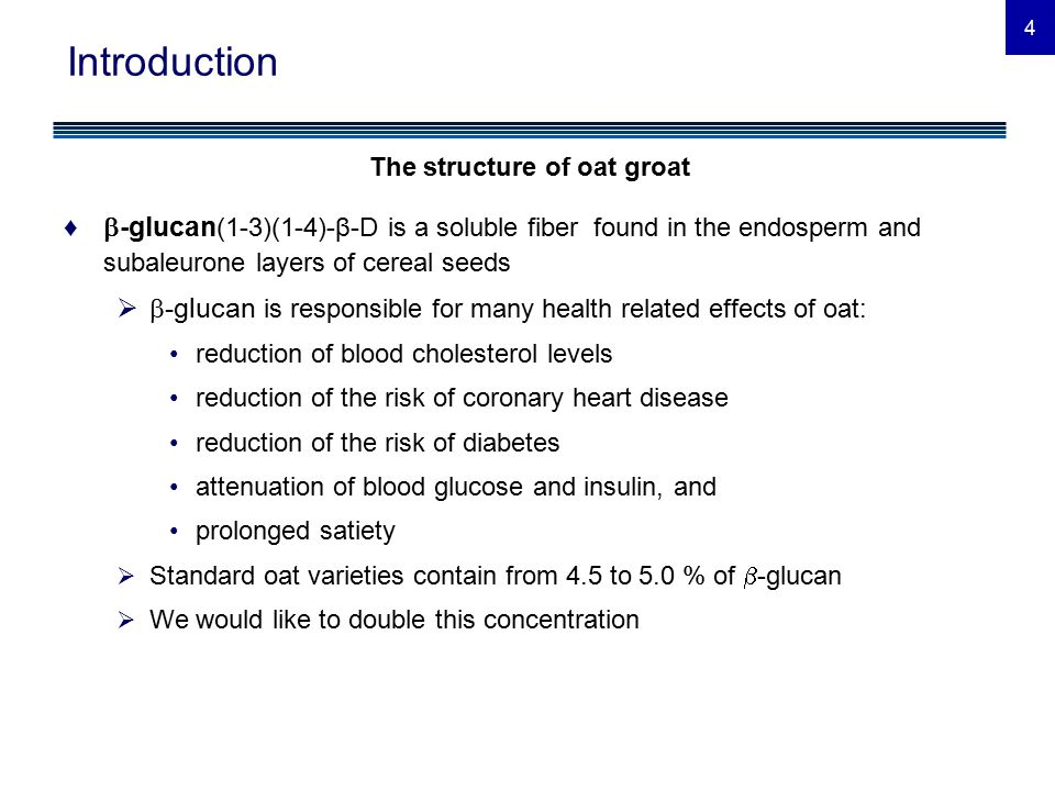 5 Introduction ♦Viscosity is the thickness or resistance to flow of a liquid  Many health related effects of oats result from the high viscosity of their soluble β-glucans  Regression analyses have shown a positive effect of  -glucan content on viscosity ♦Viscosity deviation  Deviation of viscosity from its prediction based on  -glucan content  We call this the viscosity deviation  Viscosity of some oat lines deviated significantly from the regression prediction, indicating that, for a given  -glucan content, some lines generate more viscosity and some less viscosity