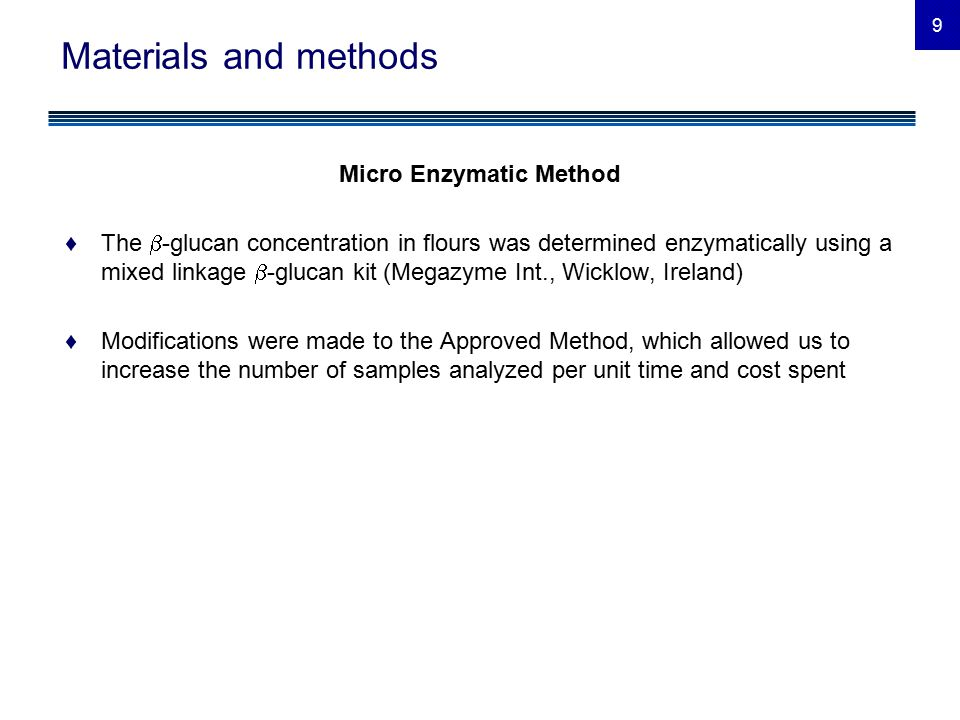 10 Materials and methods Micro Enzymatic Method