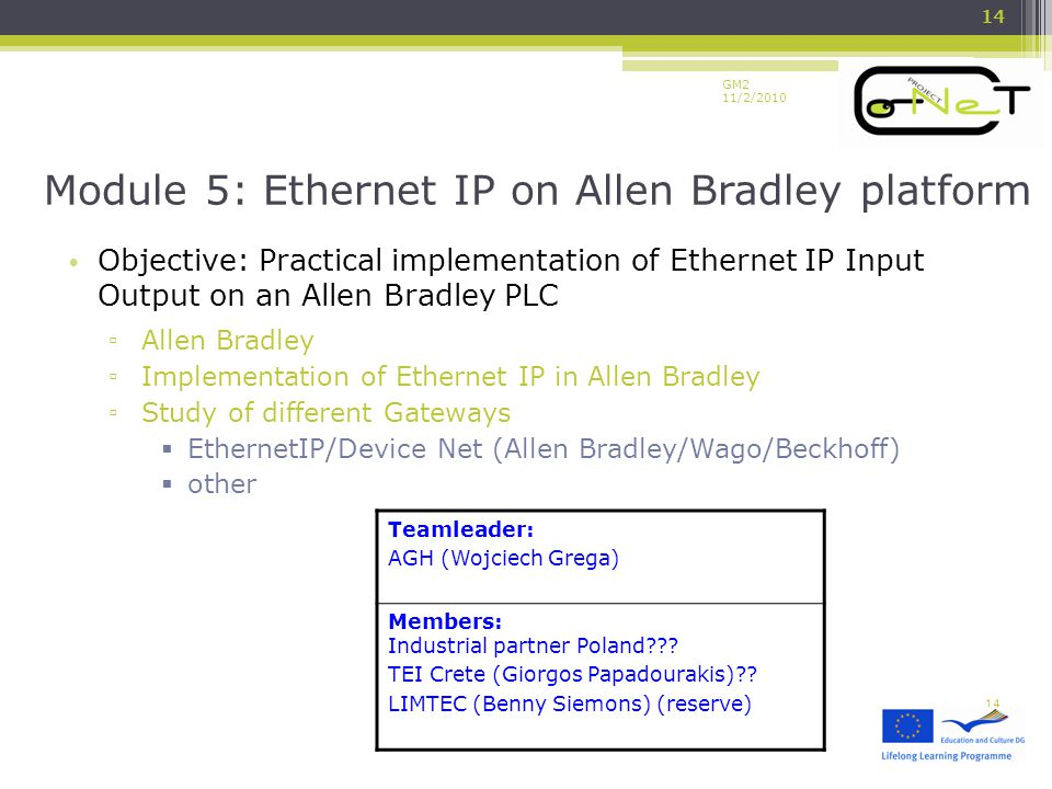 GM2 11/2/2010 Objective: Practical implementation of Ethernet IP Input Output on an Allen Bradley PLC ▫ Allen Bradley ▫ Implementation of Ethernet IP in Allen Bradley ▫ Study of different Gateways  EthernetIP/Device Net (Allen Bradley/Wago/Beckhoff)  other Module 5: Ethernet IP on Allen Bradley platform 14 Teamleader: AGH (Wojciech Grega) Members: Industrial partner Poland .