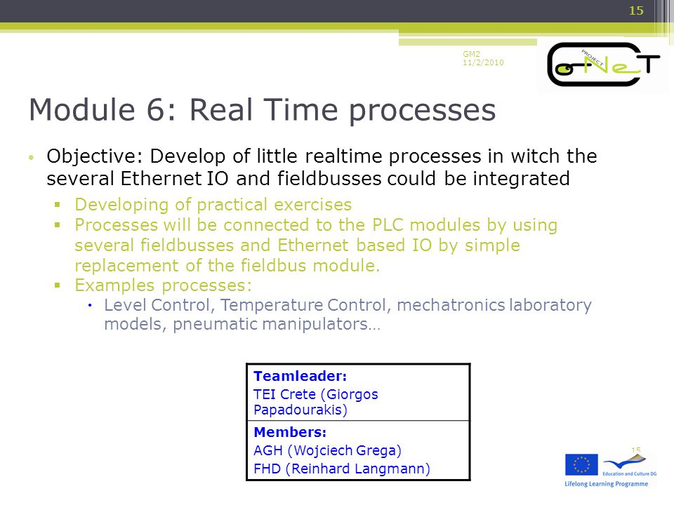 GM2 11/2/2010 Objective: Develop of little realtime processes in witch the several Ethernet IO and fieldbusses could be integrated  Developing of practical exercises  Processes will be connected to the PLC modules by using several fieldbusses and Ethernet based IO by simple replacement of the fieldbus module.