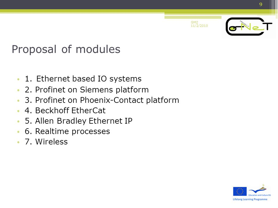 GM2 11/2/2010 1. Ethernet based IO systems 2. Profinet on Siemens platform 3.