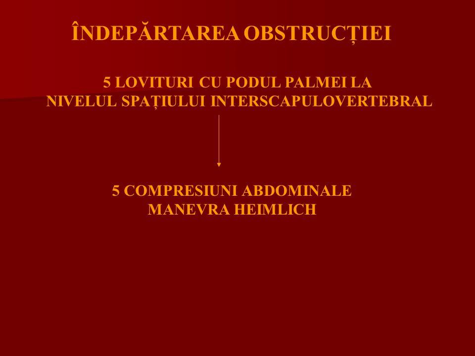 ÎNDEPĂRTAREA OBSTRUCŢIEI 5 LOVITURI CU PODUL PALMEI LA NIVELUL SPAŢIULUI INTERSCAPULOVERTEBRAL 5 COMPRESIUNI ABDOMINALE MANEVRA HEIMLICH