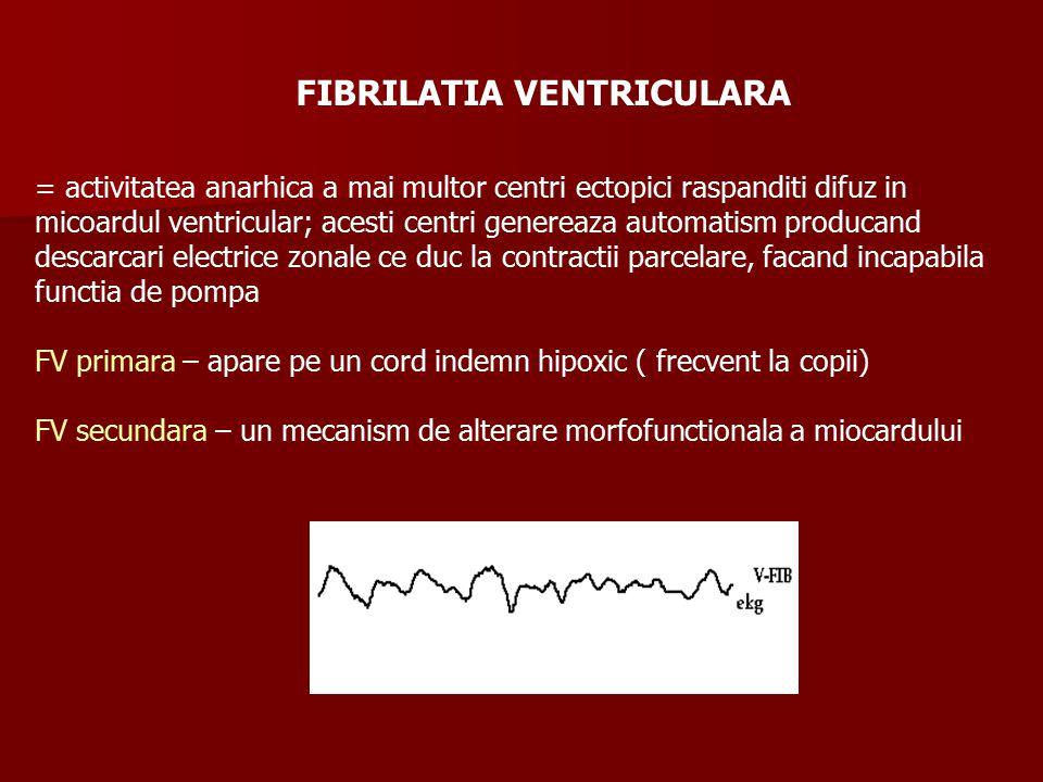 FIBRILATIA VENTRICULARA = activitatea anarhica a mai multor centri ectopici raspanditi difuz in micoardul ventricular; acesti centri genereaza automatism producand descarcari electrice zonale ce duc la contractii parcelare, facand incapabila functia de pompa FV primara – apare pe un cord indemn hipoxic ( frecvent la copii) FV secundara – un mecanism de alterare morfofunctionala a miocardului