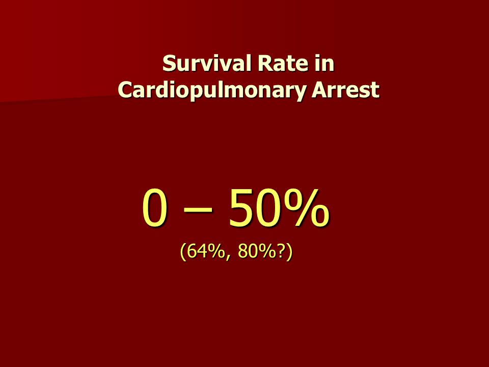 Survival Rate in Cardiopulmonary Arrest 0 – 50% (64%, 80%?)