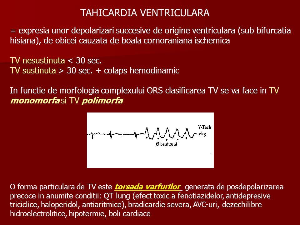 TAHICARDIA VENTRICULARA = expresia unor depolarizari succesive de origine ventriculara (sub bifurcatia hisiana), de obicei cauzata de boala cornoraniana ischemica TV nesustinuta < 30 sec.