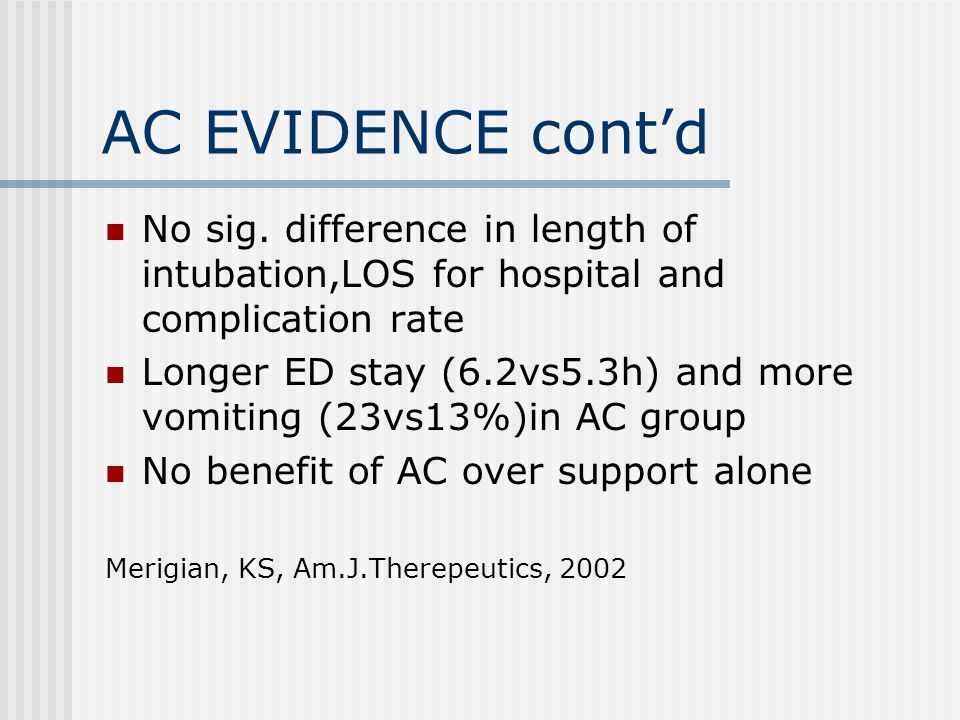 AC EVIDENCE cont'd No sig. difference in length of intubation,LOS for hospital and complication rate Longer ED stay (6.2vs5.3h) and more vomiting (23v