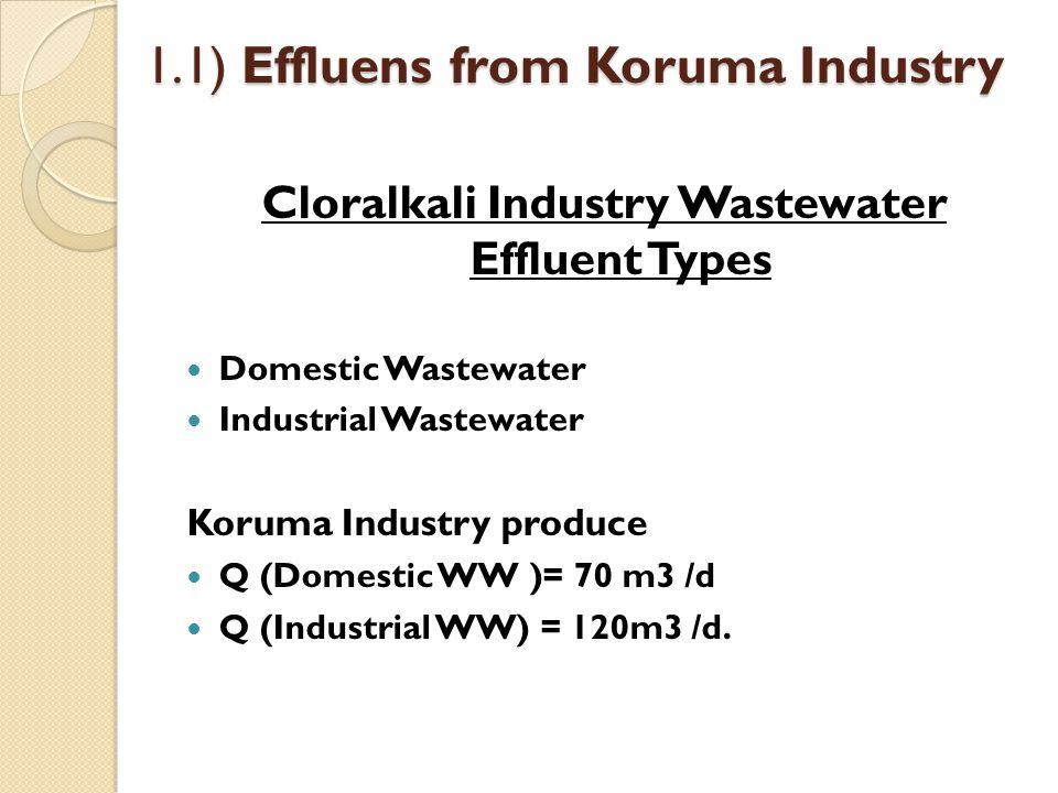 1.1) Effluens from Koruma Industry Cloralkali Industry Wastewater Effluent Types Domestic Wastewater Industrial Wastewater Koruma Industry produce Q (
