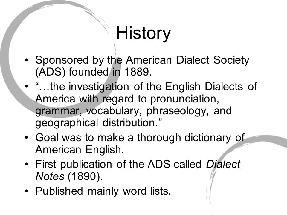 History Sponsored by the American Dialect Society (ADS) founded in 1889.