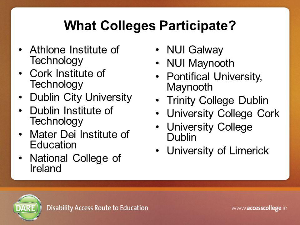 What Colleges Participate.