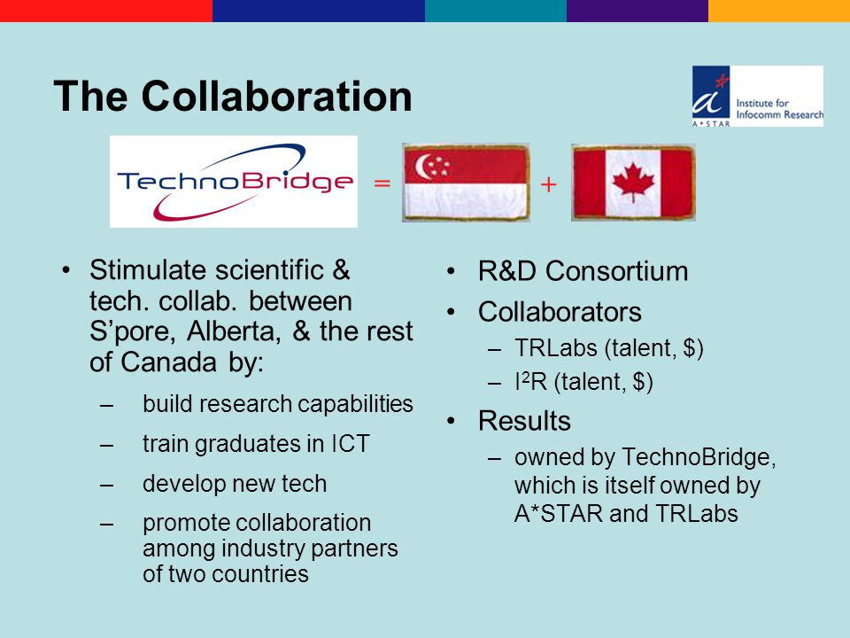 The Collaboration Stimulate scientific & tech. collab.