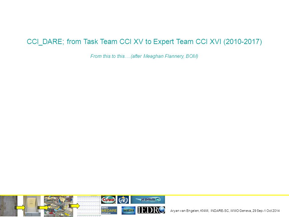 Aryan van Engelen, KNMI, INDARE-SC, WMO Geneva, 29 Sep-1 Oct 2014 CCl_DARE; from Task Team CCl XV to Expert Team CCl XVI (2010-2017) From this to this….(after Meaghan Flannery, BOM)