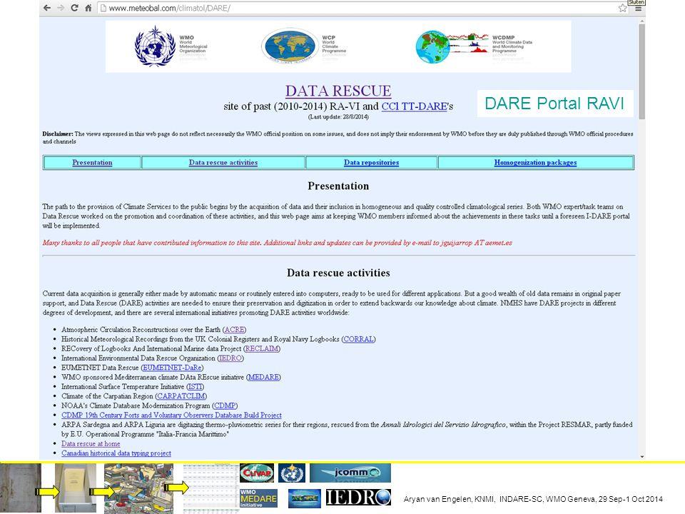 Aryan van Engelen, KNMI, INDARE-SC, WMO Geneva, 29 Sep-1 Oct 2014 DARE Portal RAVI