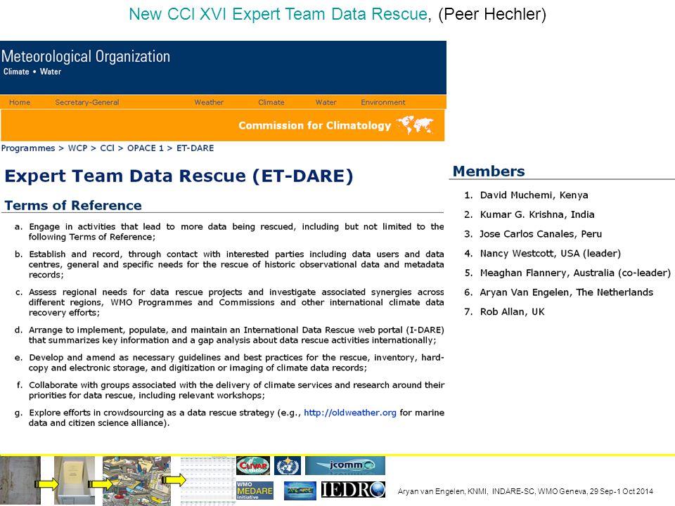 Aryan van Engelen, KNMI, INDARE-SC, WMO Geneva, 29 Sep-1 Oct 2014 New CCl XVI Expert Team Data Rescue, (Peer Hechler)