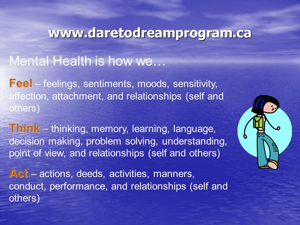 www.daretodreamprogram.ca What is mental health.