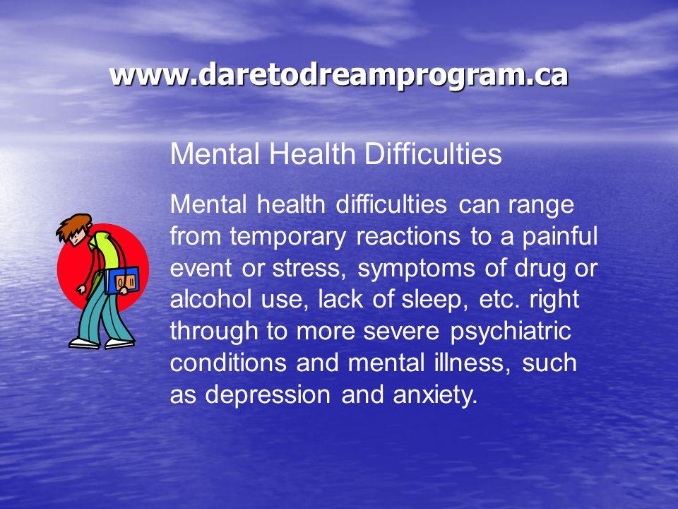 www.daretodreamprogram.ca Mental Health Mental health relates to feeling good, both mentally and physically.