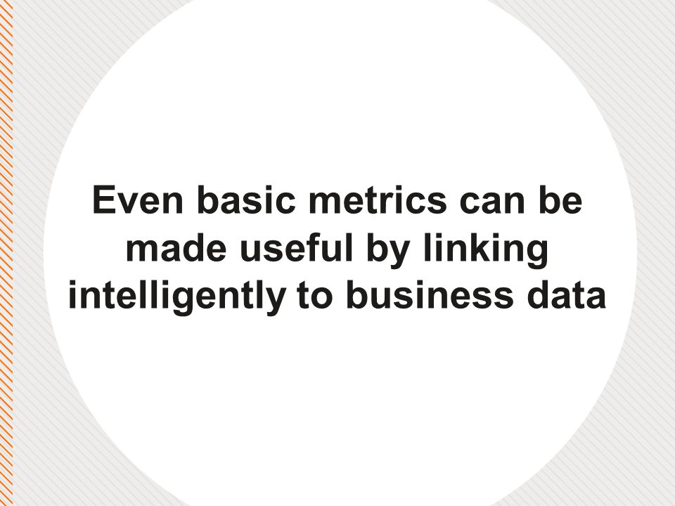 Even basic metrics can be made useful by linking intelligently to business data