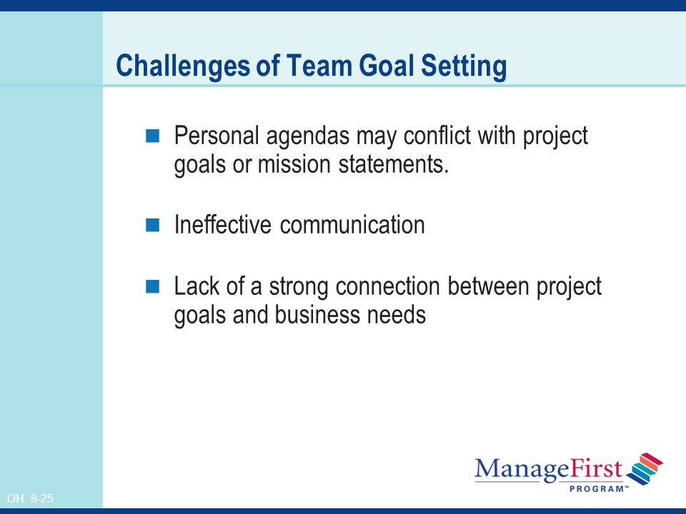 OH 8-25 Challenges of Team Goal Setting Personal agendas may conflict with project goals or mission statements. Ineffective communication Lack of a st