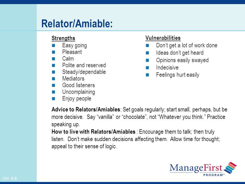 OH 8-6 Relator/Amiable: Strengths Easy going Pleasant Calm Polite and reserved Steady/dependable Mediators Good listeners Uncomplaining Enjoy people V
