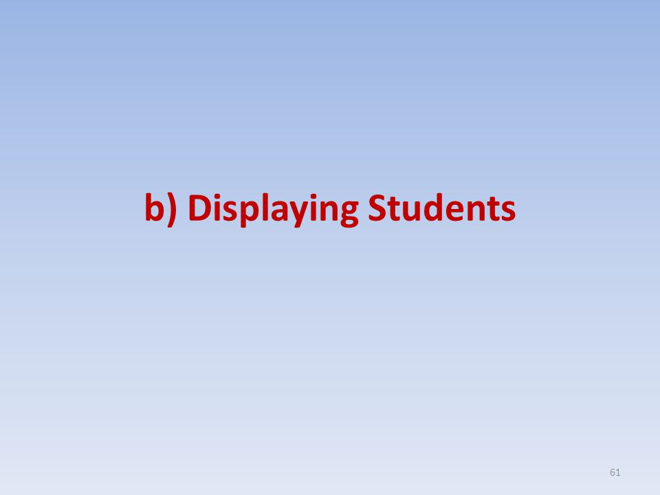b) Displaying Students 61
