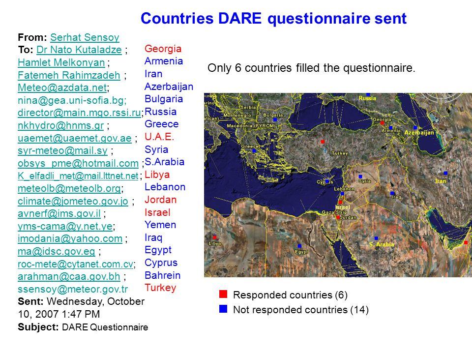 From: Serhat SensoySerhat Sensoy To: Dr Nato Kutaladze ; Hamlet Melkonyan ; Fatemeh Rahimzadeh ; Meteo@azdata.net;Dr Nato Kutaladze Hamlet Melkonyan Fatemeh Rahimzadeh Meteo@azdata.net nina@gea.uni-sofia.bg; director@main.mgo.rssi.rudirector@main.mgo.rssi.ru; nkhydro@hnms.grnkhydro@hnms.gr ; uaemet@uaemet.gov.aeuaemet@uaemet.gov.ae ; syr-meteo@mail.sy ; syr-meteo@mail.sy obsys_pme@hotmail.comobsys_pme@hotmail.com ; K_elfadli_met@mail.lttnet.net ; K_elfadli_met@mail.lttnet.net meteolb@meteolb.orgmeteolb@meteolb.org; climate@jometeo.gov.joclimate@jometeo.gov.jo ; avnerf@ims.gov.il ; avnerf@ims.gov.il yms-cama@y.net.yeyms-cama@y.net.ye; imodania@yahoo.comimodania@yahoo.com ; ma@idsc.gov.eg ; ma@idsc.gov.eg roc-mete@cytanet.com.cvroc-mete@cytanet.com.cv; arahman@caa.gov.bh ; arahman@caa.gov.bh ssensoy@meteor.gov.tr Sent: Wednesday, October 10, 2007 1:47 PM Subject: DARE Questionnaire Georgia Armenia Iran Azerbaijan Bulgaria Russia Greece U.A.E.
