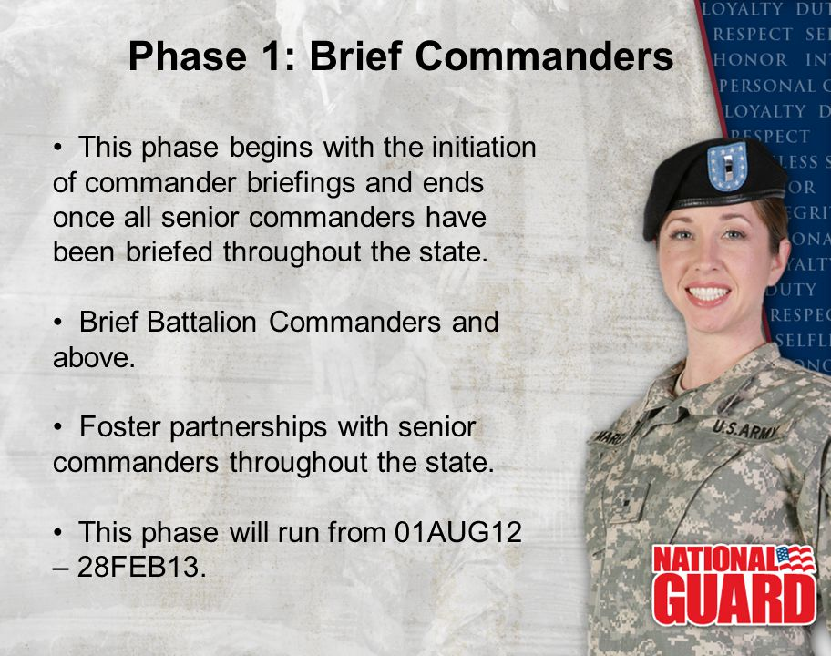 This phase begins with the initiation of commander briefings and ends once all senior commanders have been briefed throughout the state. Brief Battali