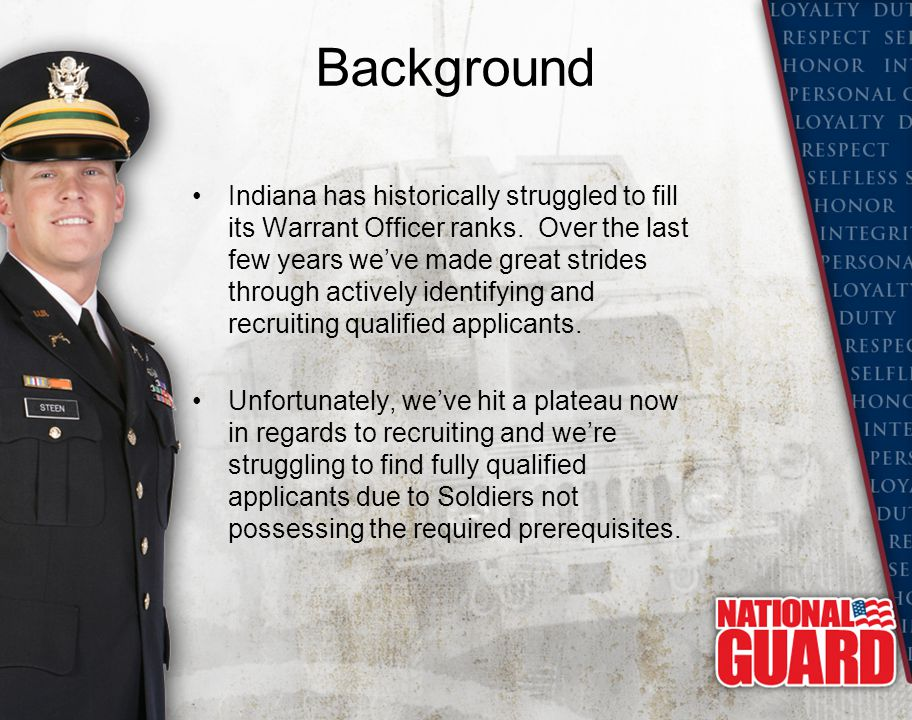 Background Indiana has historically struggled to fill its Warrant Officer ranks. Over the last few years we've made great strides through actively ide