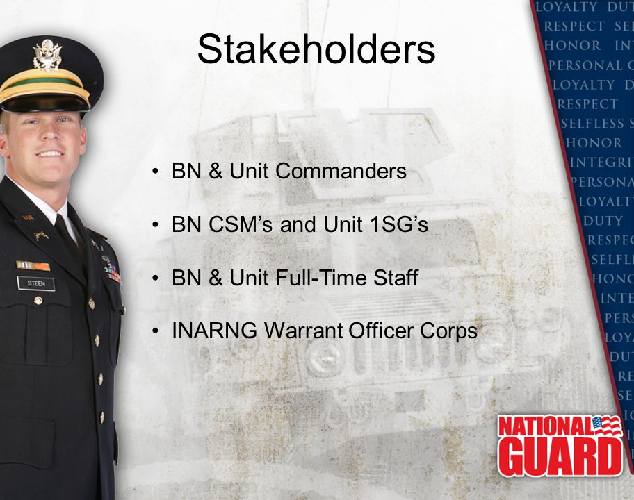 Stakeholders BN & Unit Commanders BN CSM's and Unit 1SG's BN & Unit Full-Time Staff INARNG Warrant Officer Corps