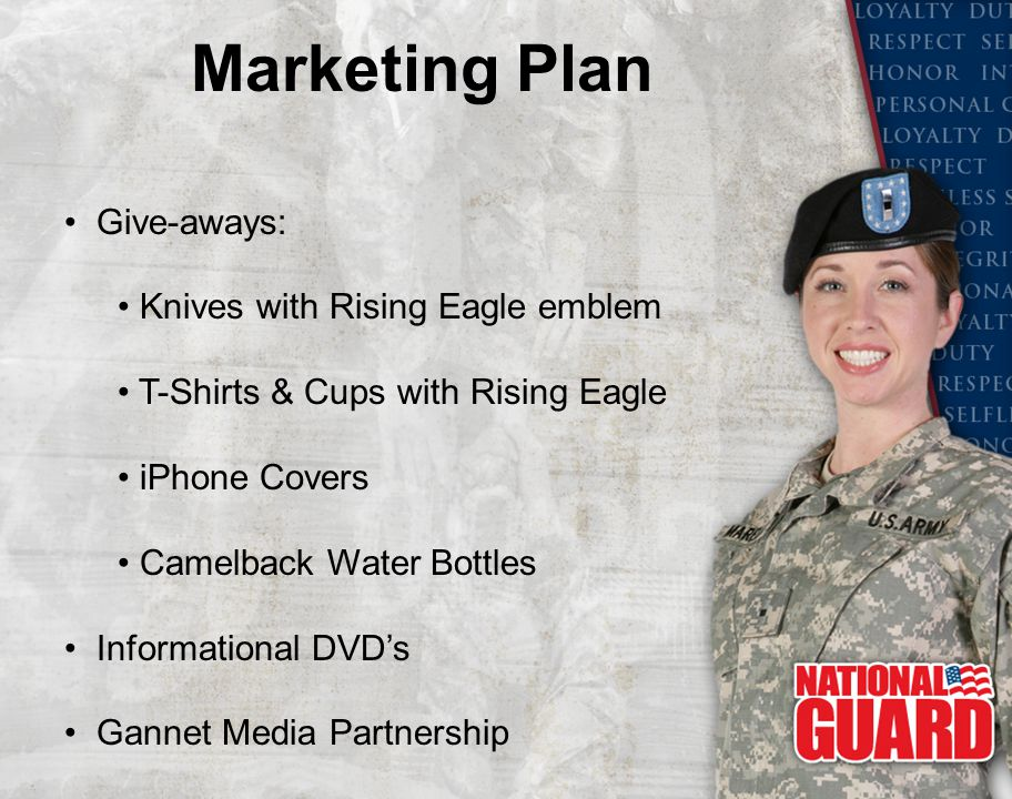 Marketing Plan Give-aways: Knives with Rising Eagle emblem T-Shirts & Cups with Rising Eagle iPhone Covers Camelback Water Bottles Informational DVD's