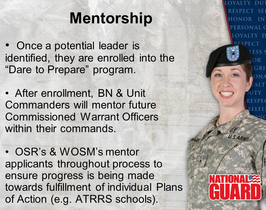 Mentorship Once a potential leader is identified, they are enrolled into the Dare to Prepare program.