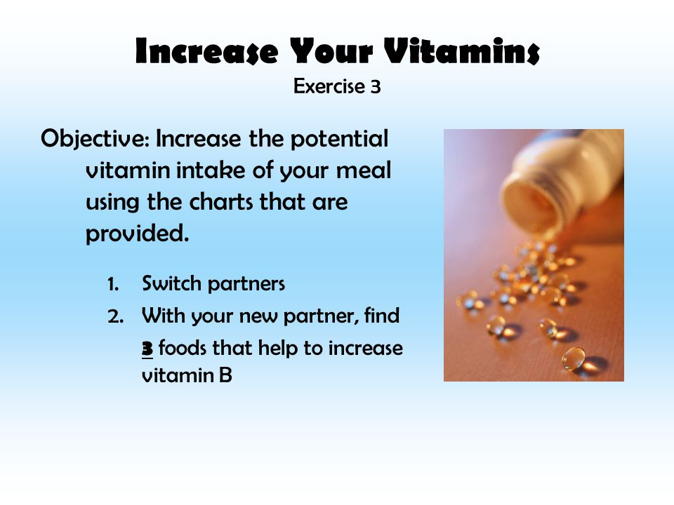 Increase Your Vitamins Exercise 3 Objective: Increase the potential vitamin intake of your meal using the charts that are provided.