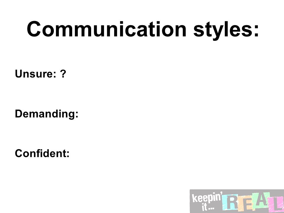Communication styles: Unsure: Demanding: Confident: