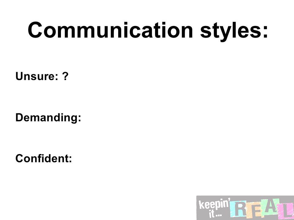 Communication styles: Unsure: ? Demanding: Confident: