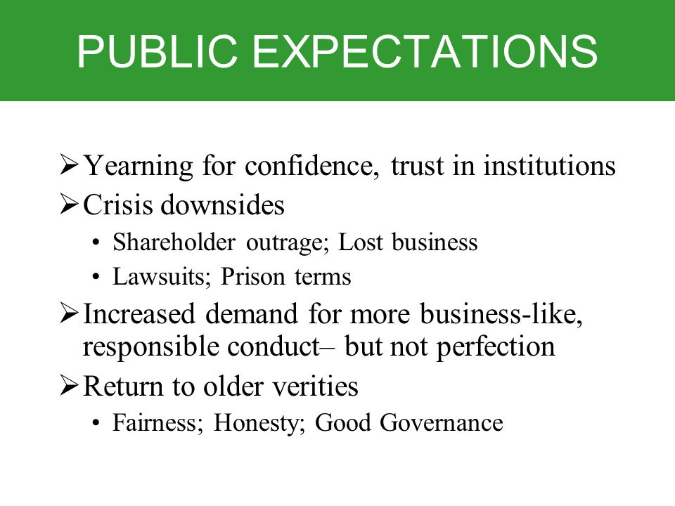 PUBLIC EXPECTATIONS  Yearning for confidence, trust in institutions  Crisis downsides Shareholder outrage; Lost business Lawsuits; Prison terms  Increased demand for more business-like, responsible conduct– but not perfection  Return to older verities Fairness; Honesty; Good Governance