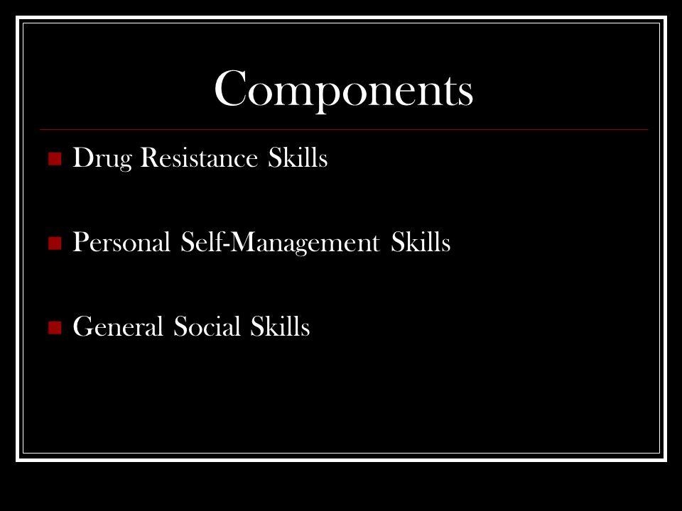 Components Drug Resistance Skills Personal Self-Management Skills General Social Skills