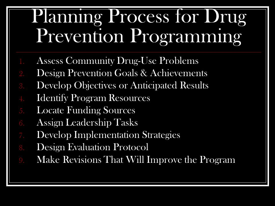 Planning Process for Drug Prevention Programming 1.
