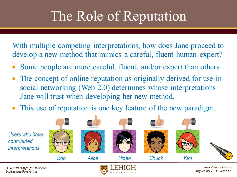 A New Paradigm for Research in Machine Perception Lopresti and Lamiroy August 2010  Slide 14 The Role of Reputation With multiple competing interpretations, how does Jane proceed to develop a new method that mimics a careful, fluent human expert.