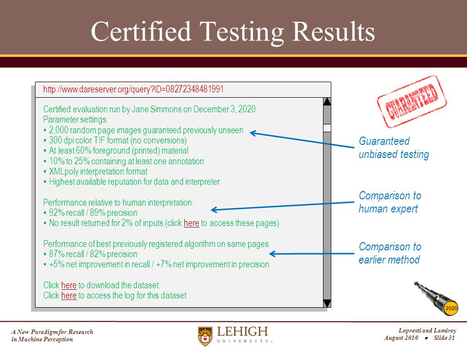 A New Paradigm for Research in Machine Perception Lopresti and Lamiroy August 2010  Slide 31 Certified Testing Results 2020 http://www.dareserver.org/query?ID=08272348481991 Certified evaluation run by Jane Simmons on December 3, 2020.