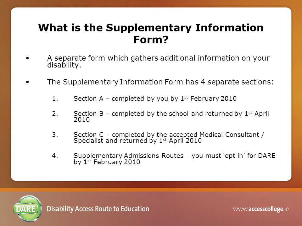 What is the Supplementary Information Form.