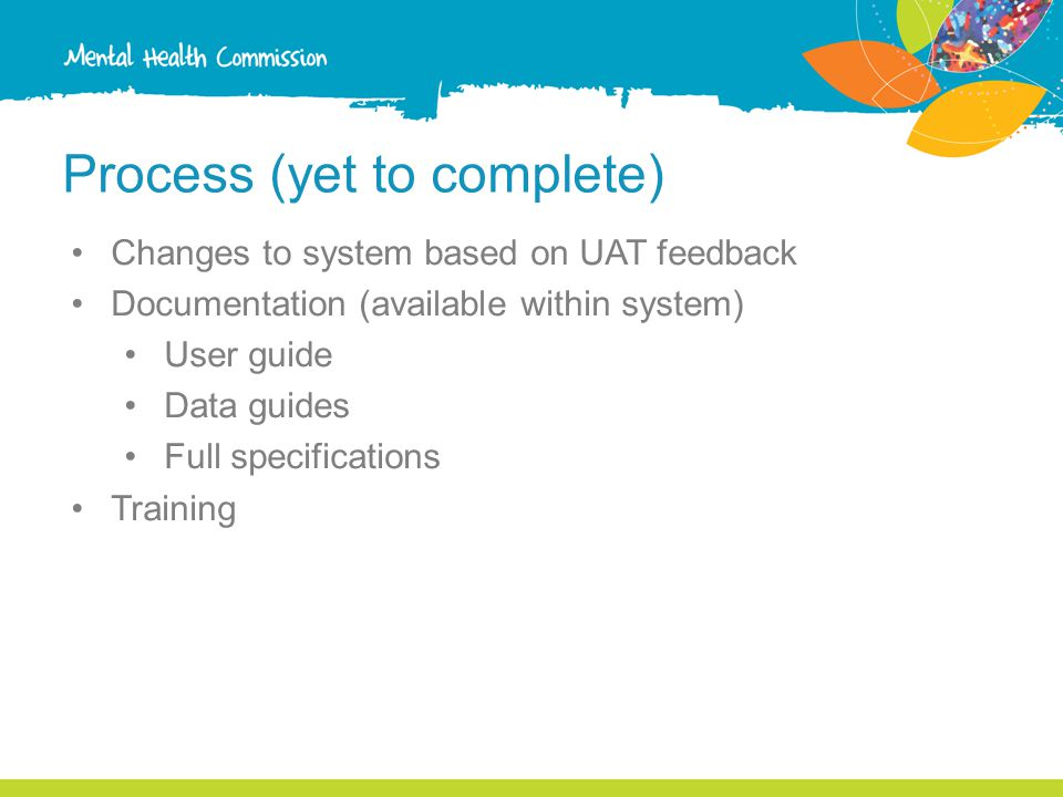 Process (yet to complete) Changes to system based on UAT feedback Documentation (available within system) User guide Data guides Full specifications Training