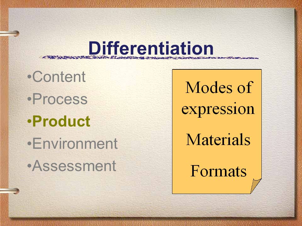 Content Process Product Environment Assessment Differentiation
