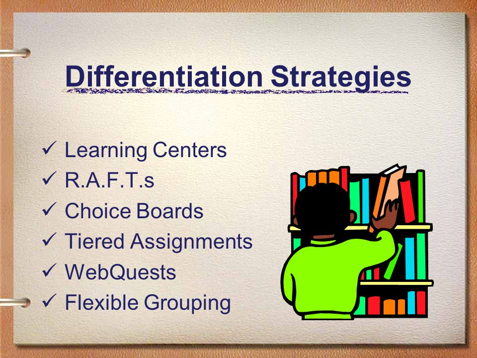 Differentiation Strategies Learning Centers R.A.F.T.s Choice Boards Tiered Assignments WebQuests Flexible Grouping