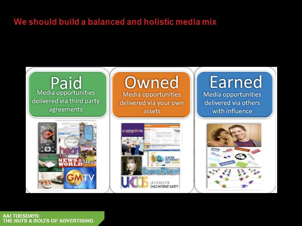 We should build a balanced and holistic media mix