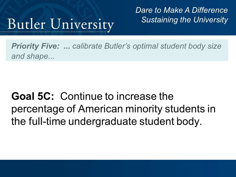 Priority Five:... calibrate Butler's optimal student body size and shape...