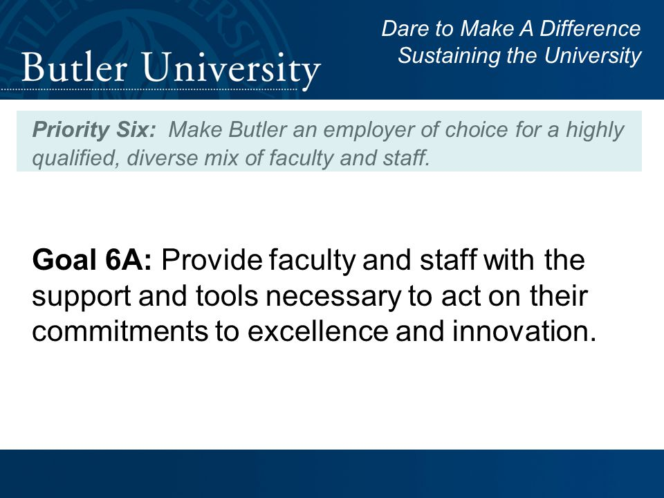 Goal 6A: Provide faculty and staff with the support and tools necessary to act on their commitments to excellence and innovation.