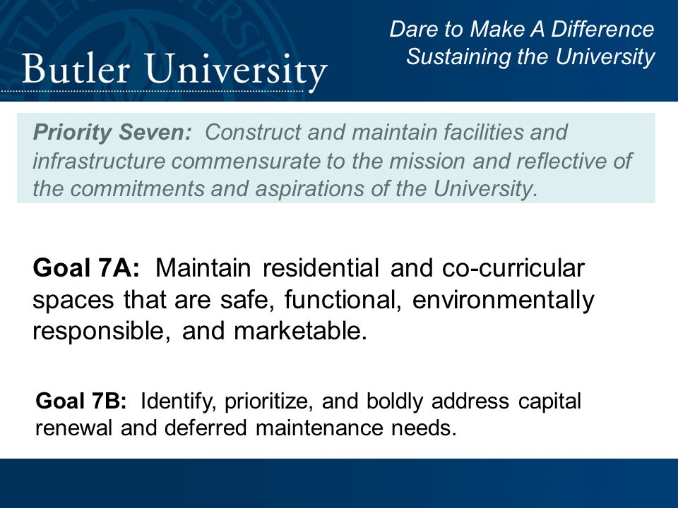 Goal 7A: Maintain residential and co-curricular spaces that are safe, functional, environmentally responsible, and marketable.