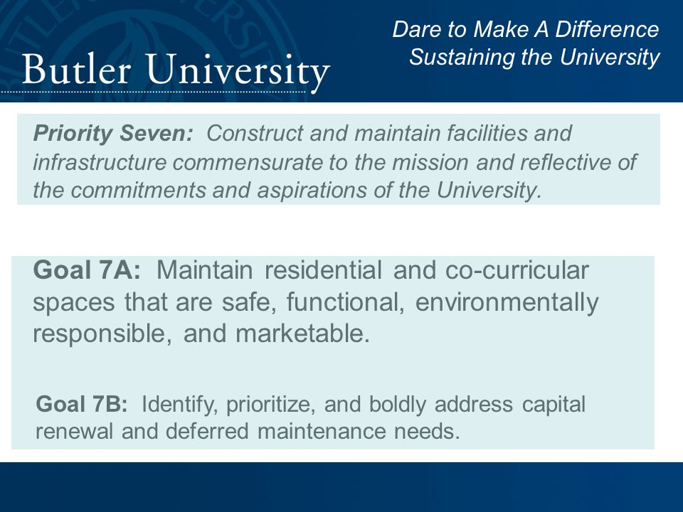 Priority Seven: Construct and maintain facilities and infrastructure commensurate to the mission and reflective of the commitments and aspirations of the University.