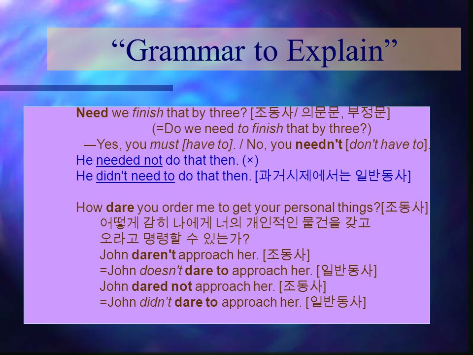 Grammar to Explain Need we finish that by three.